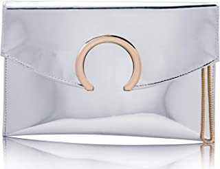 95779d248b Womens Evening Bags Large Envelope Clutches Purse Metallic Patent Leather  Wristlet Handbag