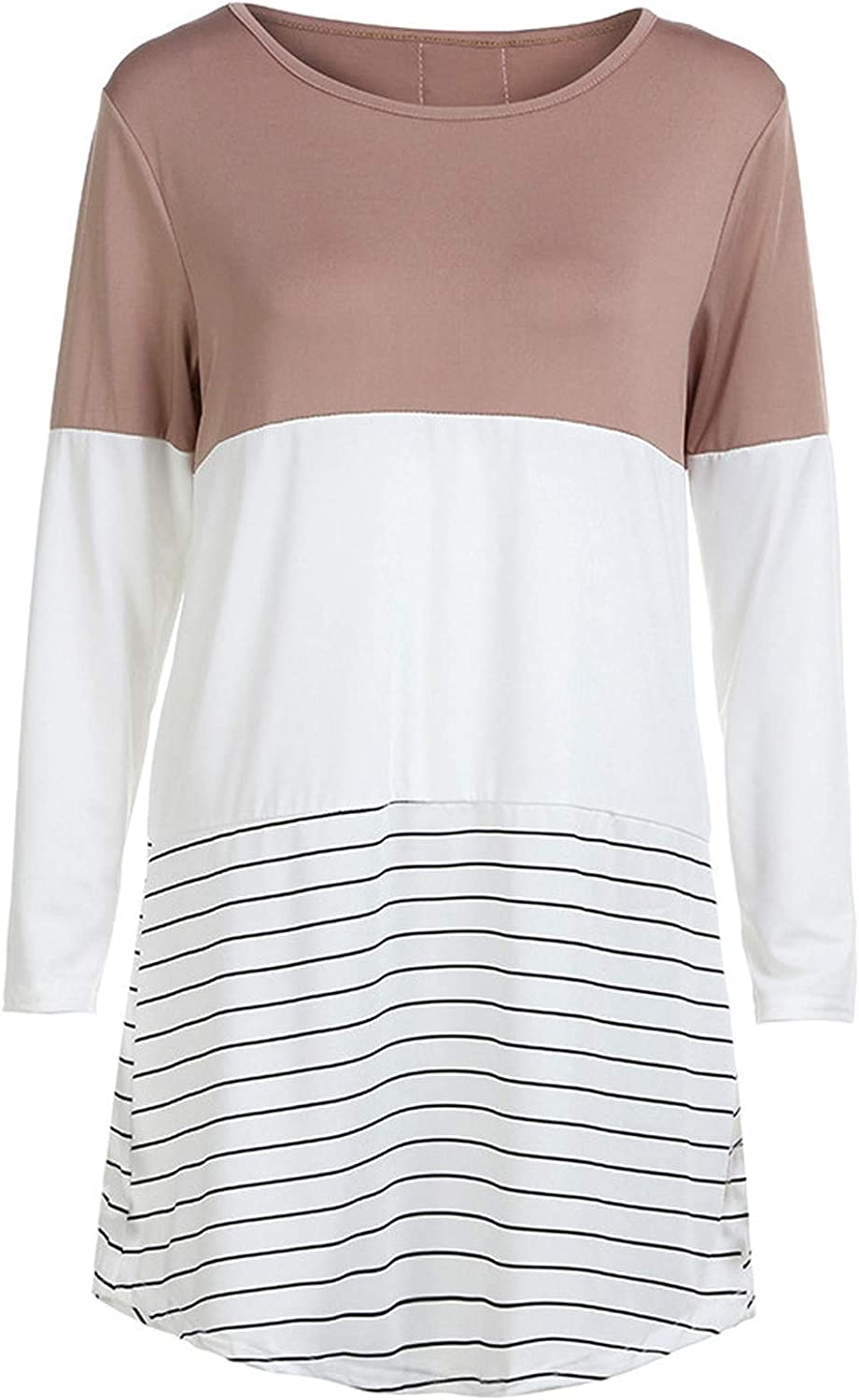 Hesxuno Valentines Day Gifts Women's Fashion Long Sleeve Lace Back Color Block Stripe Tops T-Shirts Blouses Sweatershirt