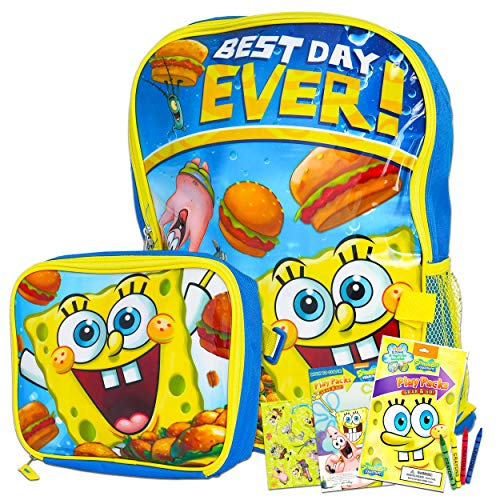 Spongebob Squarepants Backpack and Lunch Box Set for Boys Girls Kids ~ Deluxe 16' Spongebob Backpack with Detachable Insulated Lunch Bag and Stickers (Spongebob School Supplies Bundle)