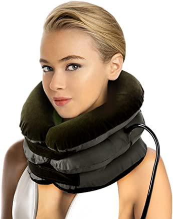 P PURNEAT Cervical Neck Traction Device – Instant Pain Relief for Chronic Neck and Shoulder Pain – Effective Alternate Pain Relieving (Brown)