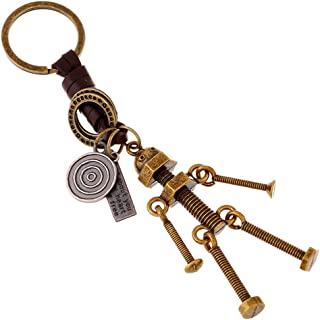 Braided leather keychain for men and women keychain alloy screw robot leather pendant creative