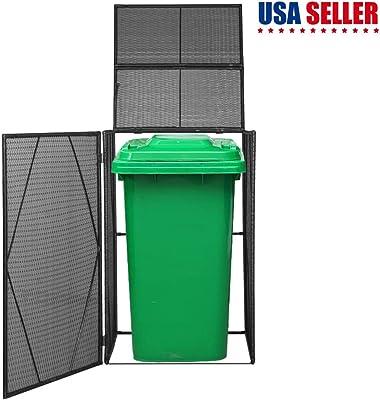 Poly Rattan Garden Garbage Wheelie Bin Cover Outdoor Trash Bin Shed for Hiding Trash Cans in The Garden Anthracite 120.1x30.7x47.2 Poly Rattan vidaXL Quadruple Wheelie Bin Shed