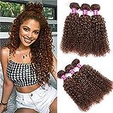 Aphro Hair Brazilian Curly Hair Bundles 3 Bundles of Brazilian Hair Kinky Curly Bundles Deals Jerry Curly Human Hair Weave Bundles Virgin Hair Extensions 4# Light Brown (10 12 14)