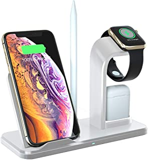 DINTO Wireless Charger with QC3.0 AC Adapter, Fast Wireless Charging Stand 3 in 1 Compatible with Apple Watch 4/3/2/1, Airpods, iPhone Xs/XS MAX/X/8/8 Plus, Samsung Galaxy S9/S9+/S8+/Note8 and More