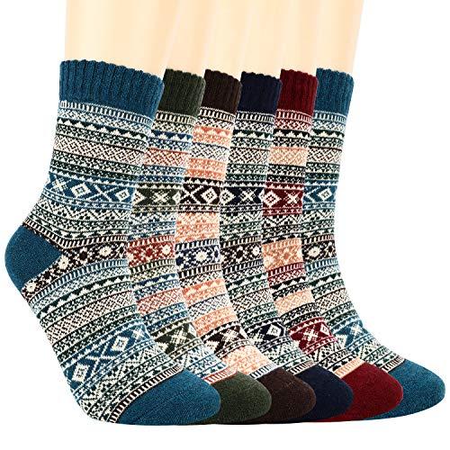 Bearbro 6 Pares Calcetines de Lana, Mujer Suave Cómodo Calcetines de Lana Gruesa de Invierno Calcetines de Punto Mujer