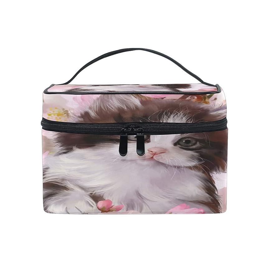 建設モディッシュどういたしましてUOOYA 猫柄 ねこ 花柄 おしゃれ メイクボックス 大容量 持ち運び メイクポーチ 人気 小物入れ 通学 通勤 旅行用 プレゼント用