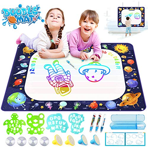 Growsland Water Drawing Mat Kids Toys Magic Mess Free Coloring Xmas Gift Toddlers Toy for 2,3,4,5,6 Year Old Girls Boys Space Theme Writing Painting 39.4' X 27'