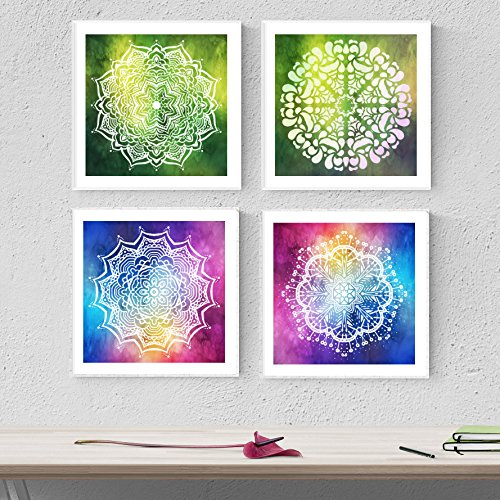 Nacnic Pack de láminas para enmarcar Crecimiento. Posters Cuadrados con imágenes de Mandalas. Decoración de hogar. Láminas para enmarcar. Papel 250 Gramos