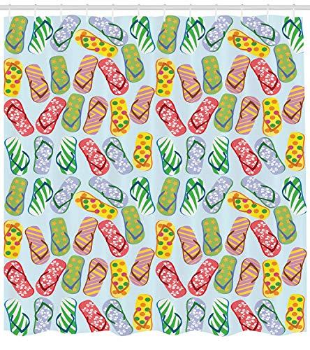 Nyngei Flip Flop Duschvorhang Stilisierte Hausschuhe mit Hibiskusblüten Palmenblätter und Tupfenmuster Stoff Badezimmer Dekor Set mitGelb Blau