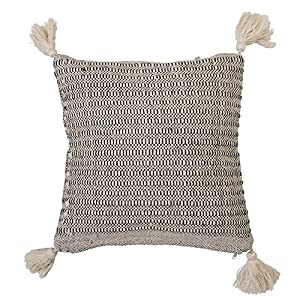"Amazing thick corner tassels Made with soft cotton Spot clean only Eye-catching pillow is 18""L x 3""W x 18""H"