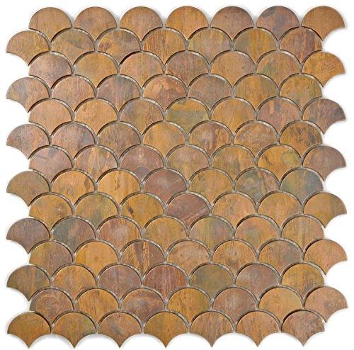 Mosaik Fliese kupfer Fächer braun für WAND BAD THEKENVERKLEIDUNG Mosaikmatte Mosaikplatte