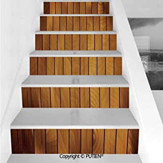 PUTIEN Exquisite Stair Stickers Wall Stickers,6 PCS Self-Adhesive [ Brown,Wooden Plank Texture Tree Timber