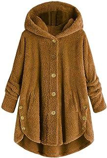Reooly Abrigo con Botones suéter Holgado con Capucha y botón de la Parte Superior de la Cola esponjosa de Las Mujeres