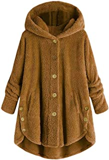 inantime Womens Solid Warm Overcoat Button Coat Fluffy Tail Tops Hooded Pullover Loose Sweater Outwear Jacket