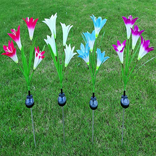 Solar Lights Garden, ZQX Solar Flower Lights Outdoor, Multi-Color Solar Lamp with Bigger Lily Flower and Wider Solar Panel for Garden, Pathway, Party, Decoration - Red, Purple, White, Blue, 4 Pack