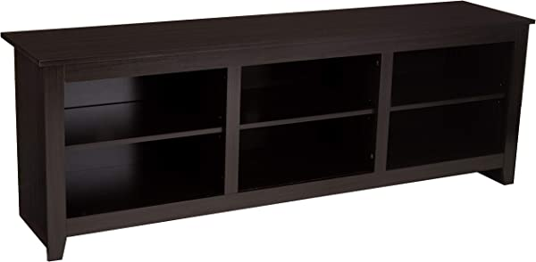 AmazonBasics Classic 70 Wood TV Stand With Storage Console Cappuccino