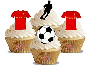 Baking Bling 12 x Liverpool FC Football Mix - Choose from UNFLAVOURED or Vanilla-SWEETENED Toppers - Fun Novelty Birthday Premium Stand UP Edible Wafer Card Cake Toppers Decorations