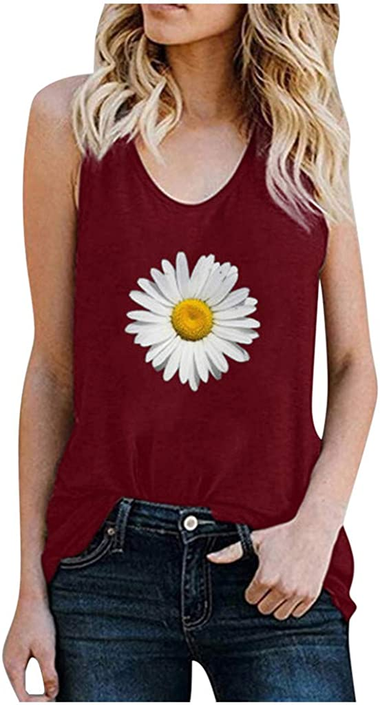 Gerichy Tank Tops for Women, Womens Summer Tops Loose Fit Sunflower Shirts Sleeveless Casual Shirts Tees Vest Tunics