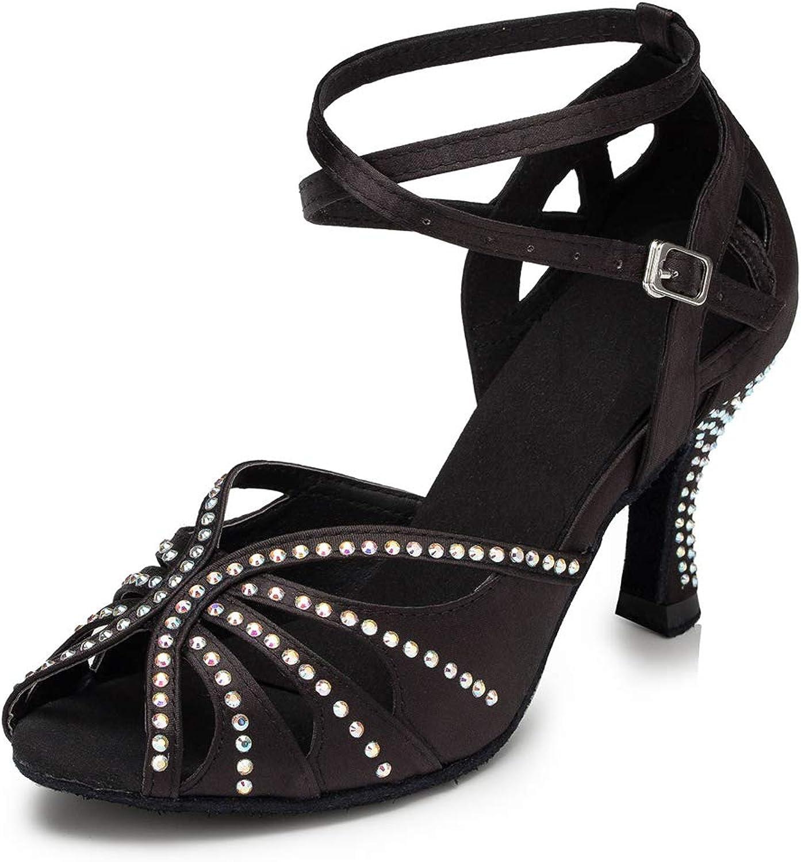 Doris Women's Satin Glitter Rhinestone Salsa Tango Ballroom Morden Party Wedding Latin Dance shoes Sandals