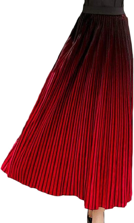 QDCACA Women Vintage Velvet Skirt A Line High Elastic Waist Skirt