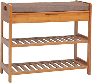 C&AHOME 3-Tier Bamboo Shoe Rack Bench, Shoe Organizer, Storage Shelf, Comfort Style, Perfect Modern Furniture with Soft Seat Cushion, Ideal for Entryway Hallway Bathroom Living Room and Corridor Brown
