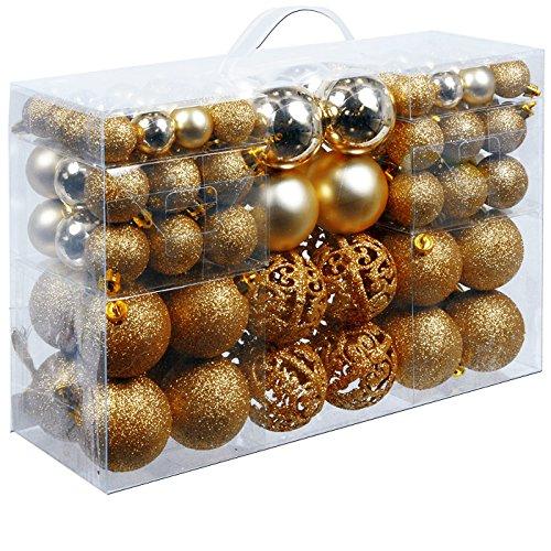 Deuba Weihnachtskugeln 100 Stück Gold - Christbaumkugeln Baumschmuck Weihnachtsbaumschmuck