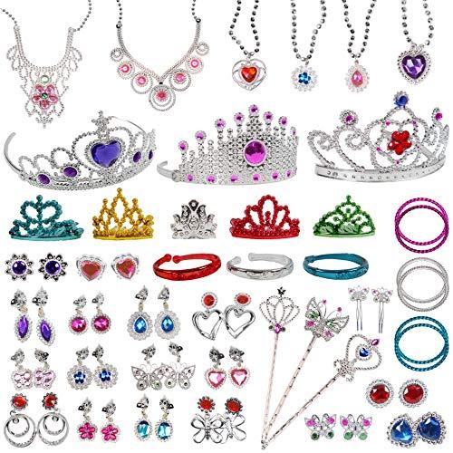 Jewelry Toy,62 Pieces Princess Pretend Jewelry Toy Playset,Assorted Jewelry...