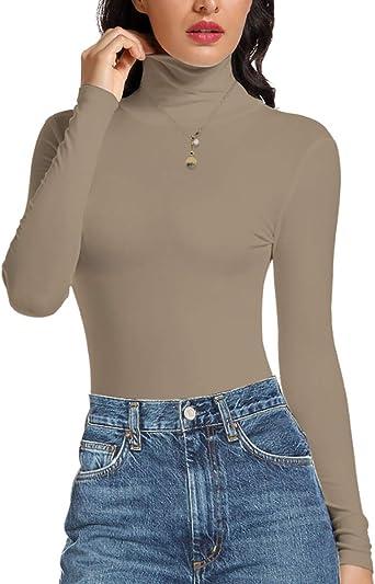 STARBILD Camisa de Manga Larga para Mujer Top de Cuello Alto Jersey Ligero Blusas de túnica Delgadas S-XXL