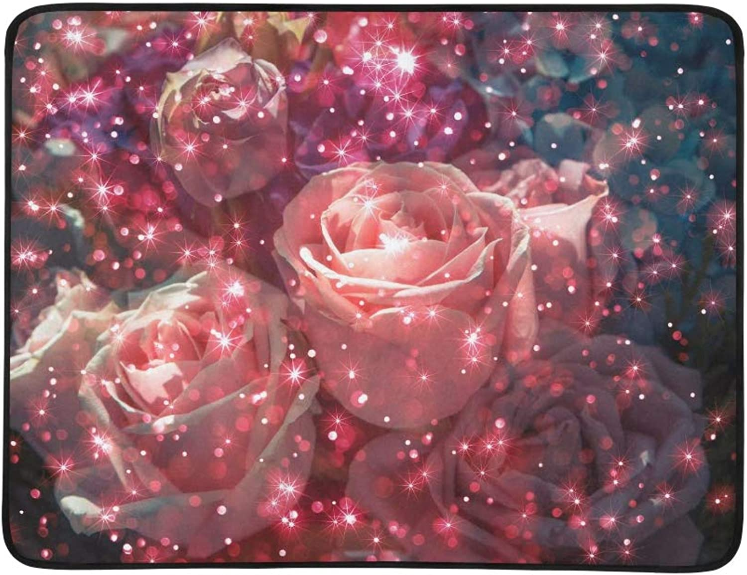 Abstract Bouquet pink Flower with Glitter On Dark Pattern Portable and Foldable Blanket Mat 60x78 Inch Handy Mat for Camping Picnic Beach Indoor Outdoor Travel