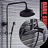 COOLSHOPY Termostático Montado en la pared Negro Bronce Set de ducha Negro Estilo Europeo Grifo de baño Hermoso baño práctico