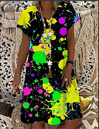 Mujeres Suelto Vestido,Mujer Elegante Moda Colorful Splash Ink Impresión 3D Cuello En V Manga Corta Más Tamaño Maxi Dress Swing Falda Fiesta De Verano Bata De Todos Los Días Vestidos Largos De P