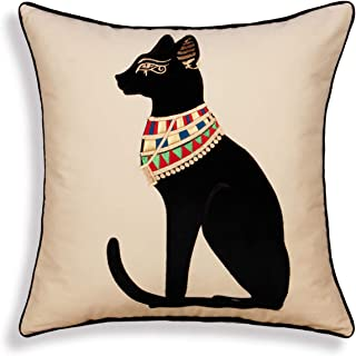 Animal Cotton Throw Pillow Cushion Cover Embroidered Egyptian Cat Decorative Square Accent Pillow Case 18 X 18 Inches