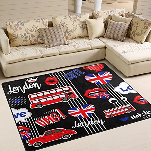 Use7 – Tapis pour salon et chambre motif bus londonien avec Union Jack, Tissu, multicolore, 160cm x 122cm(5.3 x 4 feet)