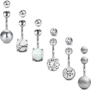 Sponsored Ad - FECTAS 14g Belly Button Rings with Replacement Tops Balls Surgical Steel CZ Navel Ring Barbell for Women Gi...