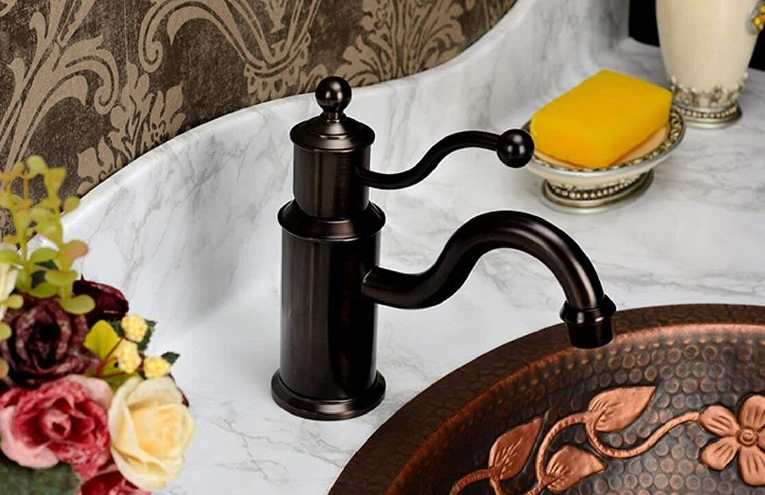 Oudan European Style Faucet Antique Single Single Hole Antique Basin, American Faucet Hot and Cold All Copper Ceramic Disc Spool Wire Drawing (color   -, Size   -)