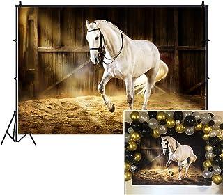 LFEEY 2,1 x 1,5 m Western Fotohintergrund Countryside West Cowboy Pferd im Stall Foto Hintergrund Fotostudio Requisiten