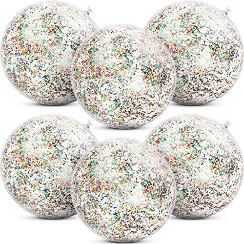 Gejoy 6 Piezas Pelotas de Playa Inflables con Purpurina de Confeti Bola de Fiesta de Piscina Transparente para Juguete Acuático de Playa de Verano Piscina y Fiesta, 16 Pulgadas (Multicolor)