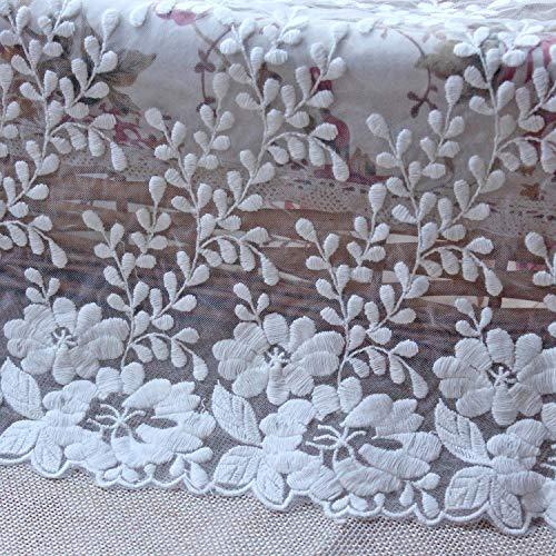 Cinta de costura bordada de algodón de 35 cm de ancho de guipure encaje de encaje vestido de tela de bricolaje accesorios de ropa cortinas de encaje africano