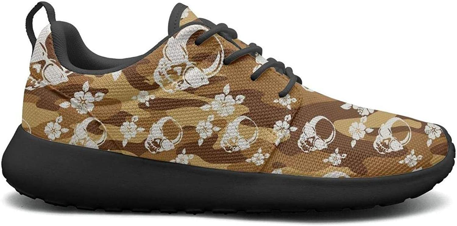 Gjsonmv Army camo Skull Flower mesh Lightweight shoes for Women Cool Sports Tennis Sneakers shoes