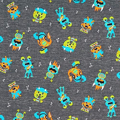 PETIT CITRON French Terry Sommersweat Musik Monster grau — Meterware ab 0,5m — zum Nähen von Kinderbekleidung, Sweatshirts und Kleider