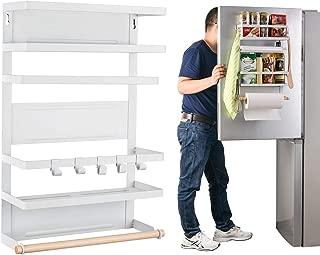 Refrigerator Organizer Rack Magnetic Kitchen Magnetic Holder With Hook Strong Power magnet For Paper Towel Holder Rustproof Spice Jars Rack Refrigerator Shelf Storage Hanger Oganizer Tool 19 X13X5.3IN