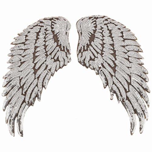 1 paio di paillettes con ali d'angelo da applicare con ferro da stiro, ricamate fai da te, con ali luccicanti per giacche, stoffe, regali di San Valentino (argento)