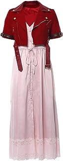 Mesodyn Adult Women Aerith Gainsborough Cosplay Costume FF7 Remake Adult Halloween Pink Dress