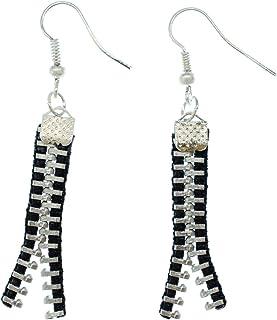 Miniblings Reißverschluss Ohrstecker Zipper Stecker Ohrringe Upcycling schwz - Handmade Modeschmuck I Ohrhänger Ohrschmuck versilbert