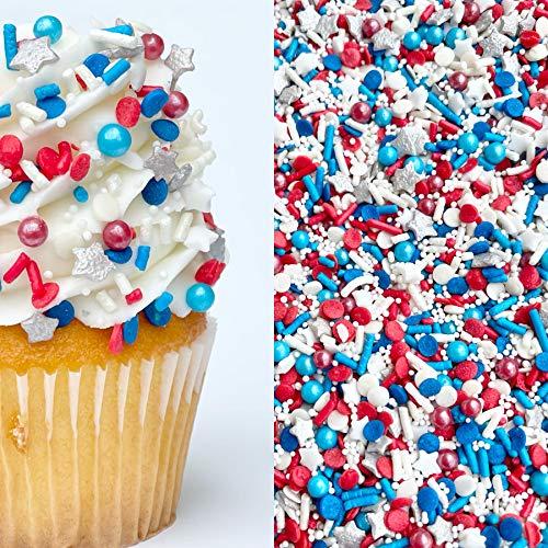Sprinkles | 8 oz | Patriots sprinkles | Red white and blue sprinkles | American sprinkles | Jimmies | Cookie Sprinkles | Cake sprinkles | Fourth of July sprinkles | Nonpareils | Manvscakes
