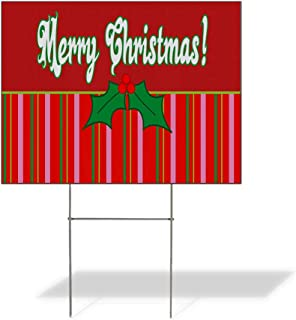 Plastic Weatherproof Yard Sign Merry Christmas Holly Mistletoe Blue for Sale Sign One Side 18inx12in