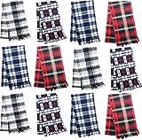 12 Pack Fleece Winter Scarves, Warm Winter Multi-color Bulk Wholesale, Unisex Men Women (Assorted Plaid)