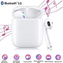 True Bluetooth Headphones, Noise Canceling Headphones with Charging Case Built-in Mic TWS Stereo Hi-Fi Sound Bluetooth Headset Touch Control in-Ear Earphones for Work/Running/Travel/Gym (White)