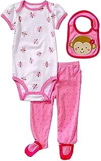 "Carters Baby-girls Pink""Lil Monkey"" 3 Piece Bib, Footie Size: 3-6 mth"