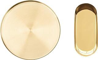 Lot de 2 plateaux de rangement en métal doré - Organisateur de rangement rond ovale en acier inoxydable - Pour serviettes,...